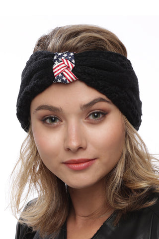 American Flag Accented Winter Headband