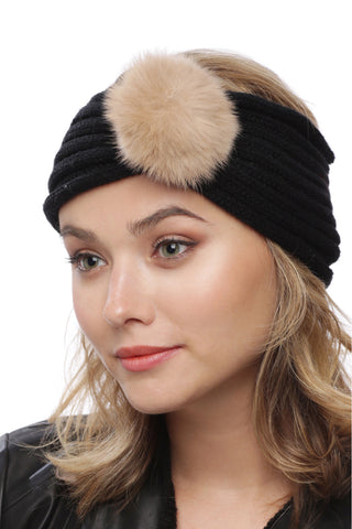 Fur Ball Pom Knit Headband
