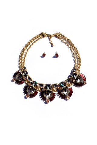 Statement Stone Red/Gold Necklace Set