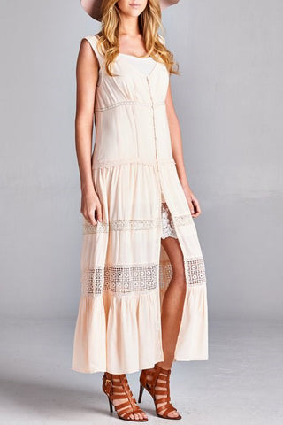 Long Vest with Lace Detail Dress