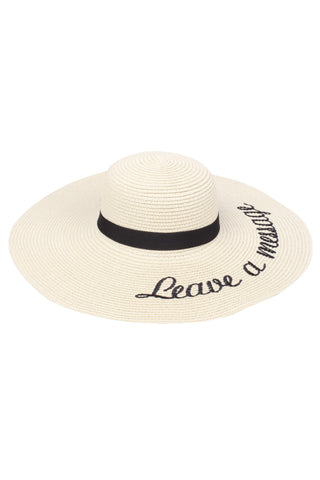 Beach Wide Brim Floppy Hats with Embroidered funny verbiage