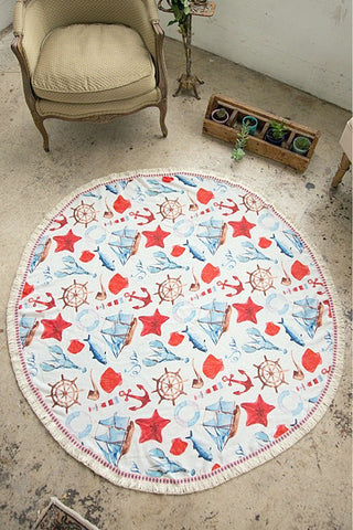 Sea Life Round Beach Shawl/ Blanket