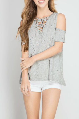 1/2 Sleeve Cold Shoulder Top with Lace Up Front