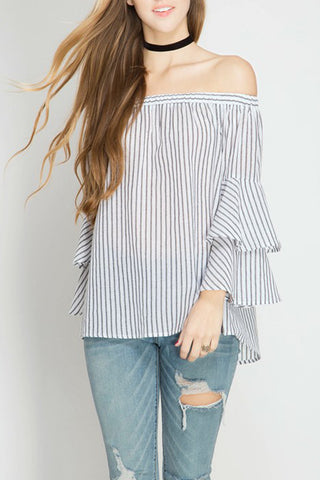 3/4 Bell Sleeve Stripe Off the Shoulder Top