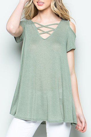 Criss Cross Front Cold Shoulder Top
