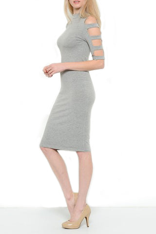 3/4 Sleeve Midi Dress with Ladder Detail Sleeve