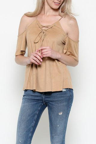 Short Sleeve Cold shoulder Lace Up Top