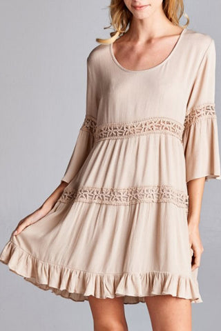 Solid Dress with Tiered Design Lace