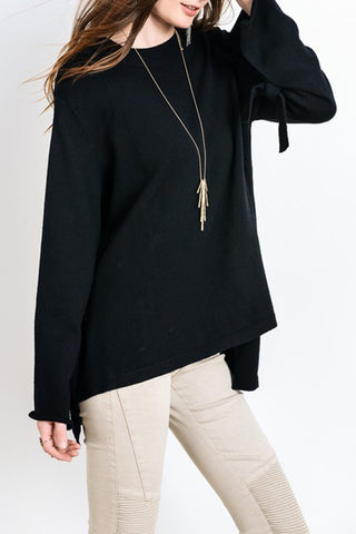 Sweater with Tie Detail Long Sleeve