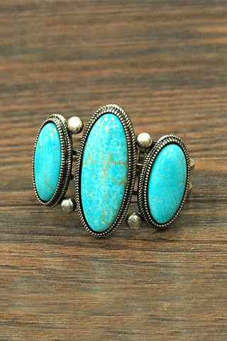 Natural Oval Turquoise Cuff Bracelet