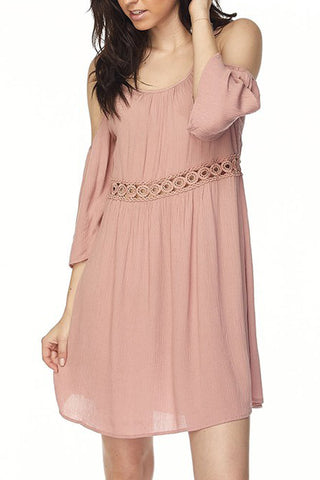 Solid Cold Shoulder Dress with Lace Patch
