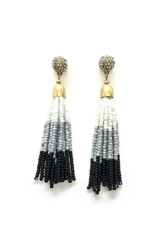 Color Block Seed Bead Tassel Earring