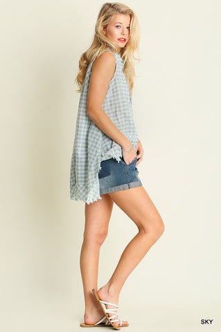 Women's Sleeveless Checkered Tunic