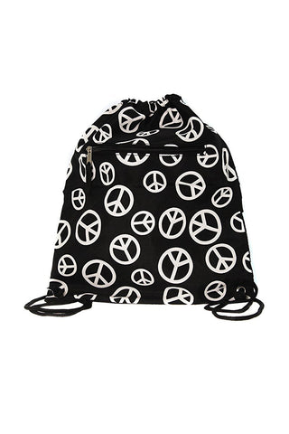 "15"" Drawstring Peace PAttern Backpack Bags"