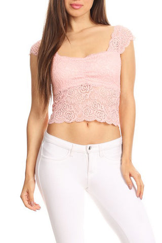Cap Sleeve Lace Crop Top Bralette