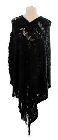 V-neck Sweater Poncho with Fringe Detail
