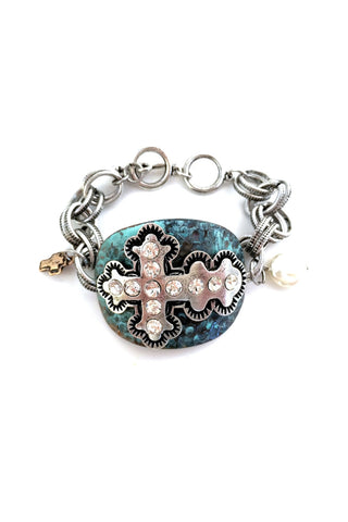 Silver Brushed Cross Patina Plate Toggle Bracelet