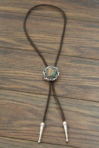 Western Country Natural Turquoise Bolo Tie