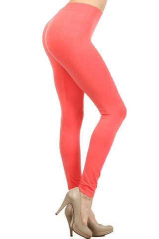 Ladies Solid Coral Color Nylon Legging