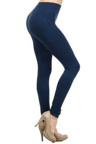 Ladies Solid Denim Color Nylon Legging
