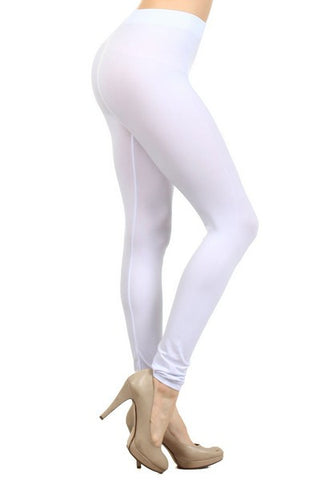 Ladies Solid White Color Nylon Legging