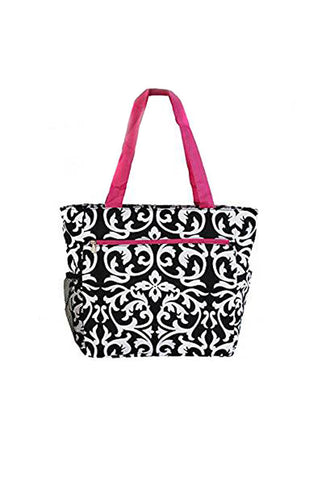 JChronicles Damask Print Beach Tote Bags