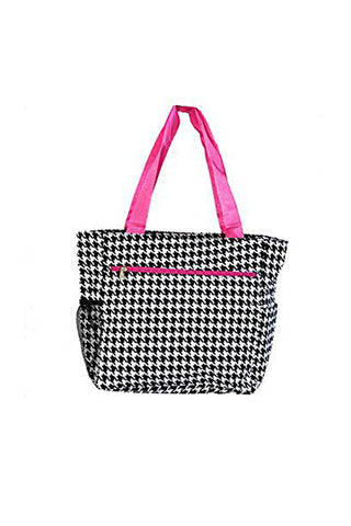 JChronicles Houndstooth Print Beach Tote Bags