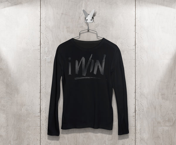 iWin Black Shirt w/ Gun Metal Logo Unisex Long Sleeve Tee Shirt