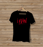 Iwin Black Short Sleeve with Red Text