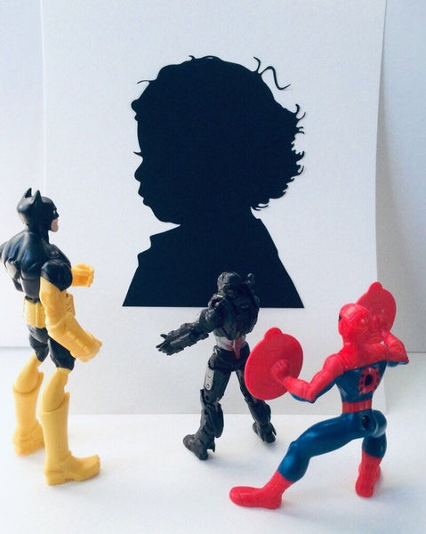 Two Custom Hand Cut  Silhouette Portraits - Hand Cut Paper Silhouette - 1