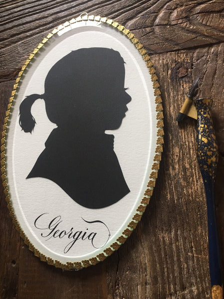 Two Custom Hand Cut  Silhouette Portraits - Hand Cut Paper Silhouette - 7