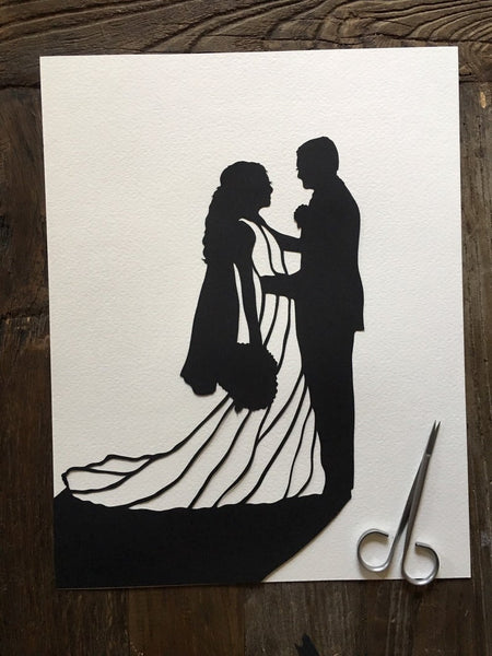 Two Custom Hand Cut  Silhouette Portraits - Hand Cut Paper Silhouette - 3