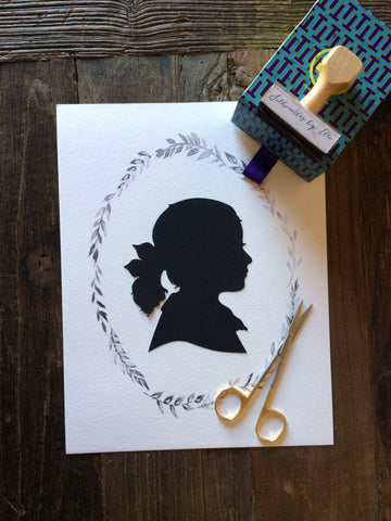 8x10 Custom Child Silhouette on Wreath
