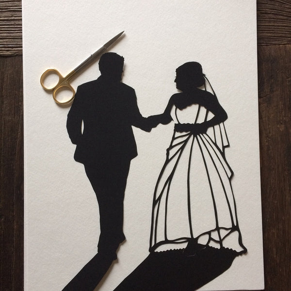 "11 by 14"" Custom Hand-Cut Wedding Silhouette Art - First Anniversary Paper Gift - Silhouettes by Elle"