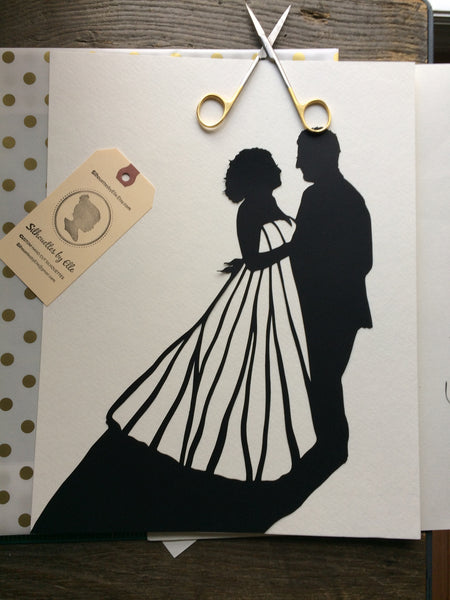"11 by 14"" Custom Hand Cut Wedding Silhouette Art"