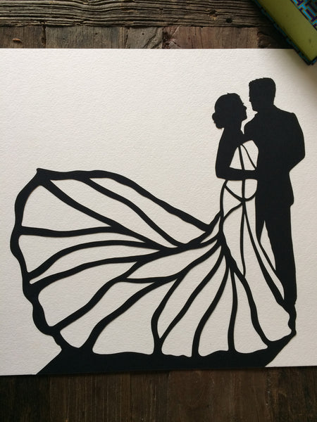 "11 by 14"" Custom Hand-Cut Wedding Silhouette Art - First Anniversary Gift - Silhouettes by Elle"