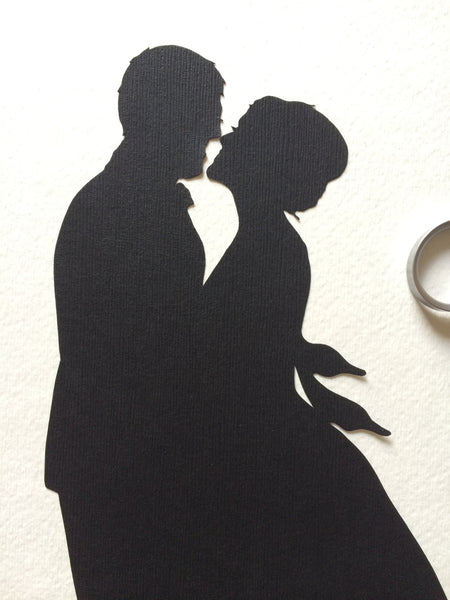 Custom Anniversary Paper Portrait  8 by 10 Wall Art - First Anniversary Paper Gift - Silhouettes by Elle