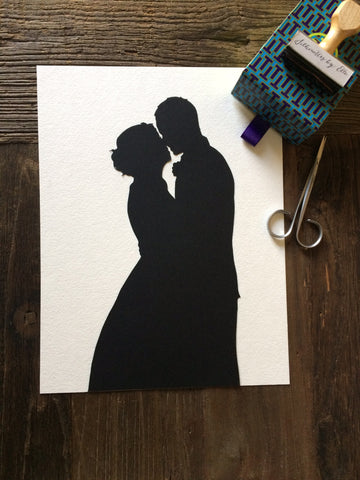 Custom Anniversary Paper Gift 8 by 10 Wall Art - Silhouettes by Elle