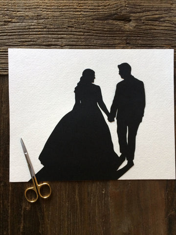 Custom Anniversary Paper Portrait 8 by 10 Wall Art - Silhouettes by Elle