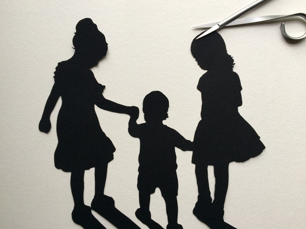 Custom Family Portrait Silhouette Art - Silhouettes by Elle