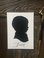 Custom Hand Cut Silhouette - Child Silhouette Portrait Art
