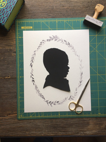 8x10 Custom Child Silhouette on Wreath - Silhouettes by Elle