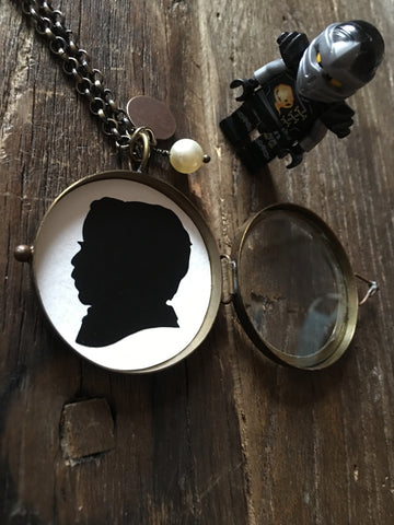 Antique Brass Glass Shadow Box Locket with Custom Silhouette - Silhouettes by Elle