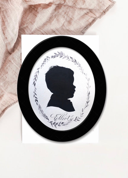 Custom Silhouette Painting Art - 8 by 10 Oval Framed