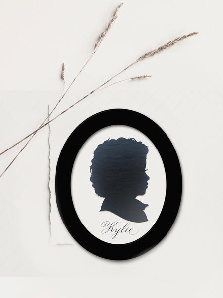 8 by 10 Oval Framed Custom Silhouette Portrait