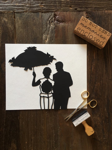 "11 by 14"" Custom Hand Cut Wedding Silhouette Art - Silhouettes by Elle"