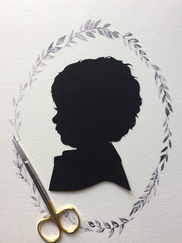 8x10 Custom Child Silhouette w/ Branches Wreath - Silhouettes by Elle