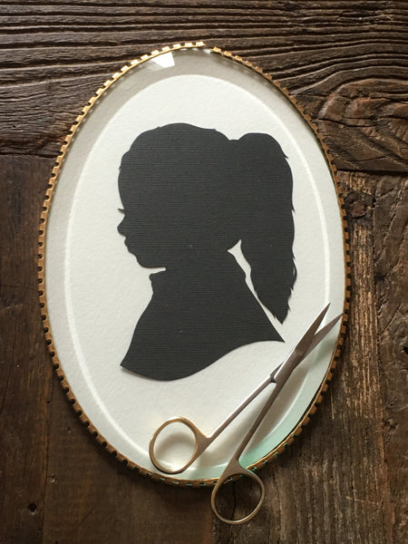 Oval Framed Custom Family Portrait Silhouette - Silhouettes by Elle