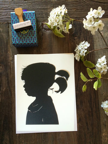 Custom Hand Cut Silhouette Portrait - Personalized Child Silhouette Profile