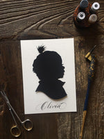5 by 7 Custom Hand Cut  Silhouette Portrait